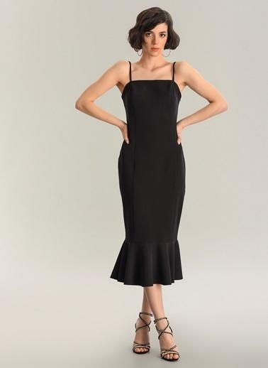 Agenda Askılı Volanlı Midi Elbise Siyah